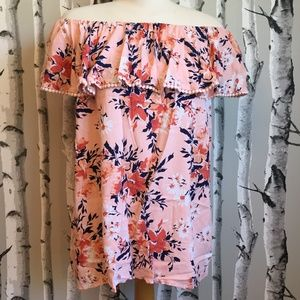 Faded Glory Coral Off Shoulder Top Floral Print